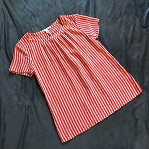 BANANA REPUBLIC 100% Silk Orange Striped Top